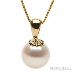 Pendentif Classique en Or 14k avec perle de culture d'Akoya blanche à partir de 8-8,5 mm AAA