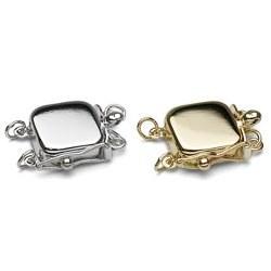 Fermoir Square pour 2 rangs de perles Or Jaune ou Or Gris 14k