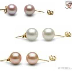 TRIS: 3 Paires de Boucles d'Oreilles de perles DOUCEHADAMA 8-9 mm 3 couleurs