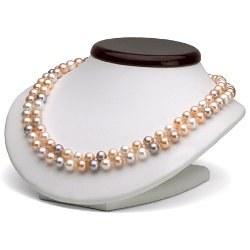 Collier Double Rang 43/45 cm perles d'eau douce 7 à 8 mm Multicolores