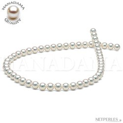 Collier de perles de culture d'Akoya naturellement blanche HANADAMA 7,5 à 8,0 mm
