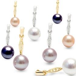 Boucles d'Oreilles en Or, Diamants et Perles d'Eau Douce AAA