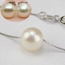 Parure 2 bijoux Perles d'eau douce 8-9 mm blanches AAA sur chaine corde 45 cm en Argent 925