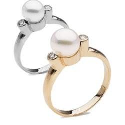 Bague Or 14 carats et diamants avec perle d'eau douce 6-7 mm DOUCEHADAMA
