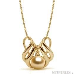 Pendentif Or 14k et diamants, perle des Phiiippines dorée AAA