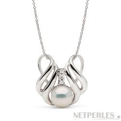 Pendentif Or et diamants, perle d'Akoya 9-9,5 mm blanche AAA