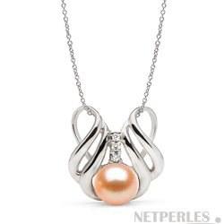 Pendentif Or 14k et diamants, perle d'Eau Douce 9-10 mm Pêche DOUCEHADAMA
