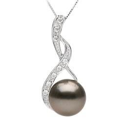 Pendentif Or 18k diamants et perle de culture de Tahiti AAA