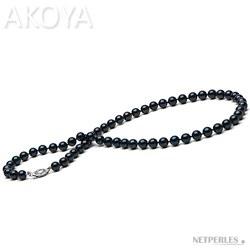 Collier 40 cm de perles d'Akoya noires 6,0 à 6,5 mm AA+