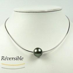 Câble en or 9k double face or jaune et or gris avec perle de Tahiti