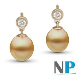 Boucles d'oreilles Or 18k diamants perles Drop dorées des Philippines AA+