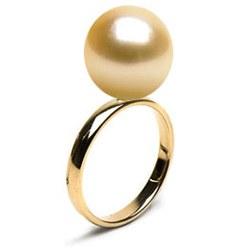 Bague Or 14k avec perle des Philippines dorée AAA