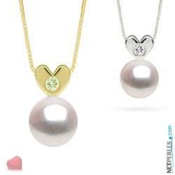 Pendentif Coeur Or et diamant avec perle blanche d'eau douce AAA