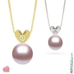 Pendentif Coeur Or 14k et diamant avec perle Lavande d'eau douce AAA