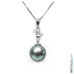 Pendentif Or 18 carats et diamants avec perle de culture de Tahiti