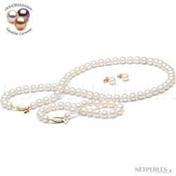Parure 3 bijoux perles d'Eau Douce blanches 45/18 cm 6-7 mm DOUCEHADAMA