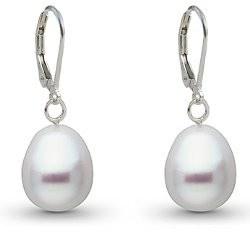 Boucles d'oreilles en Argent 925 perles d'Australie Blanches Gouttes 10-11 mm