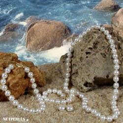 Parure 3 bijoux Perles d'Eau Douce 45/20 cm 6 à 7 mm blanches