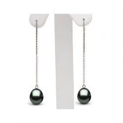 Boucles d'Oreilles en Or Gris 18 carats avec Perles de Tahiti Gouttes 10-11 mm AAA