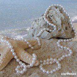 Collier 114 cm de perles Akoya 6,5 à 7 mm blanches