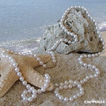 Collier 130 cm de perles Akoya 6,5 à 7 mm blanches