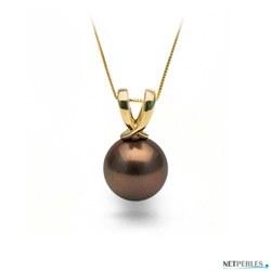 Pendentif Or 14k perle de Tahiti Chocolat de 9 à 10 mm AA/AA+