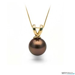 Pendentif Or 14k perle de Tahiti Chocolat qualité AAA de 10 à 11 mm
