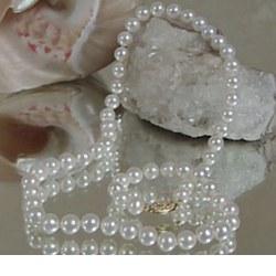 Collier de perles d'Eau Douce Blanches 6 à 7 mm 55 cm
