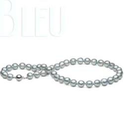 Collier de perles de culture d'Akoya Baroque de couleur Bleu 8,5-9 mm