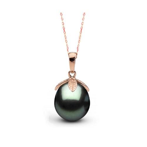 Pendentif Or Rose 18k Perle de Tahiti Goutte de 10 à 11 mm AAA