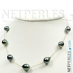 Collier de perles de culture de Tahiti Baroques 9-10 mm et chaine en Pendentif