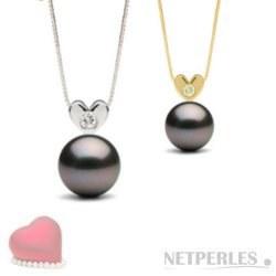 Pendentif Coeur Or diamant et Perle noire de Tahiti AAA