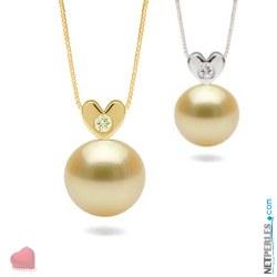 Pendentif Coeur Or et diamant et perle dorée des Philippines AAA