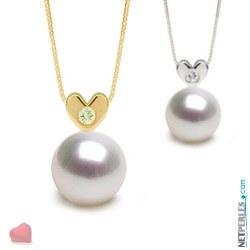 Pendentif Coeur Or 14k diamant avec perle blanche argentee d'Australie AAA