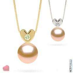 Pendentif Coeur Or et diamant avec perle Pêche d'eau douce AAA