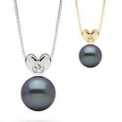 Pendentif Coeur Or 14k et diamant avec perle Noire d'eau douce AAA