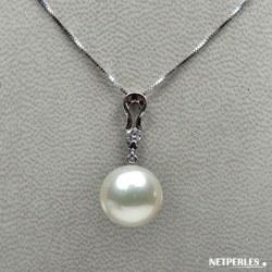 Pendentif Or gris 18k et diamant avec perle de culture d'Australie blanche