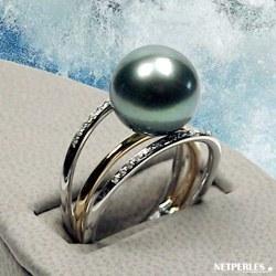Bague Or Gris et Jaune 18k diamants avec perle de Culture de Tahiti