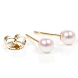 Boucles d'Oreilles de perles d'Eau Douce blanches 3-3,5 mm AAA, Or 14k