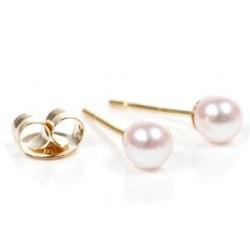 Boucles d'Oreilles de perles d'Eau Douce blanches 4-5 mm AAA, Or 14k