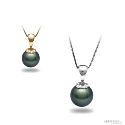 Pendentif Or 18k classique Perle de Culture de Tahiti à partir de 8 à 9 mm