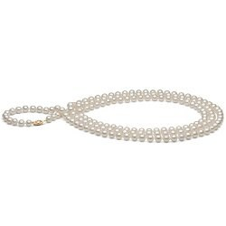 Long collier de perles d'Eau Douce de 130 cm 6-7 mm blanches