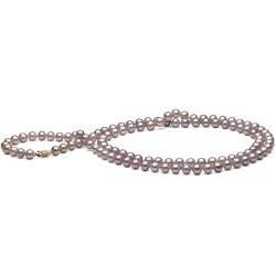 Long collier de perles d'Eau Douce couleur naturelle lavande 6-7 mm, 114 cm