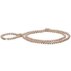 Long collier de perles d'Eau Douce couleur naturelle pêche 6-7 mm, 130 cm