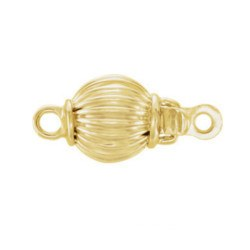Fermoir rond 7 mm pour rang de perles, Or Jaune 14k strié