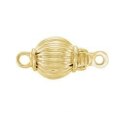 Fermoir rond 9 mm pour rang de perles, Or Jaune 14k strié