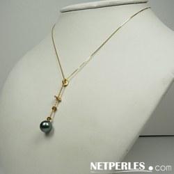 Pendentif Or 14 K et diamants avec perle de culture de Tahiti