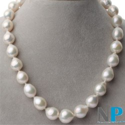Coliier 45 cm de grandes perles Exotiques Blanches Fireball d'Eau Douce