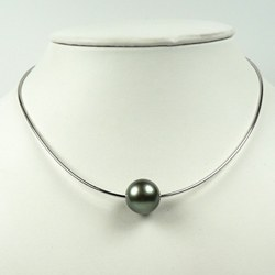 Câble 40 cm en argent 925 perle de Tahiti vert amande 8-9 mm AAA