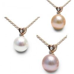 Pendentif Coeur Or Rose 18k avec diamant et perle d'eau douce DOUCEHADAMA